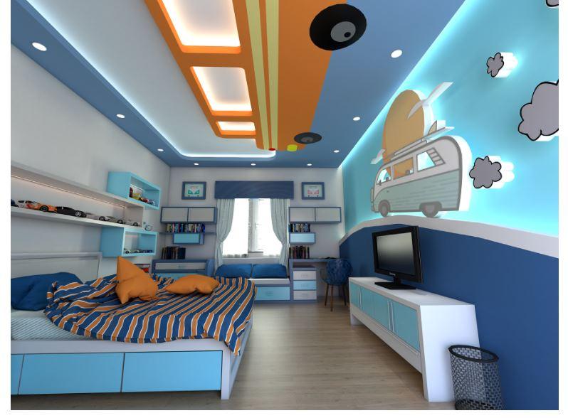 mẫu trần thạch cao 3d phòng cho bé trai
