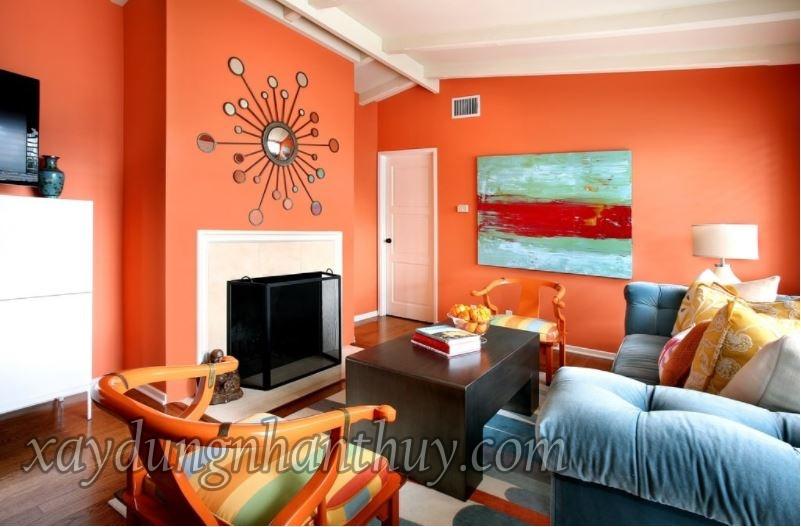 sơn nhà màu cam phòng khách cho người mệnh hỏa