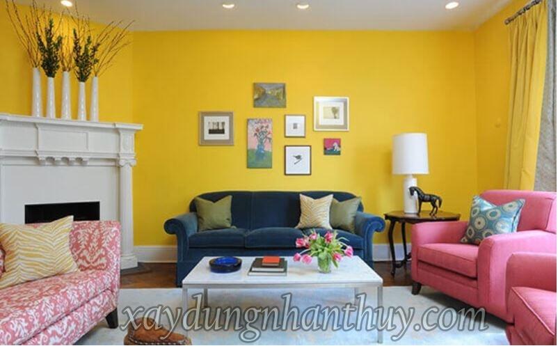 sơn nhà màu vàng phòng khách cho người mệnh hỏa