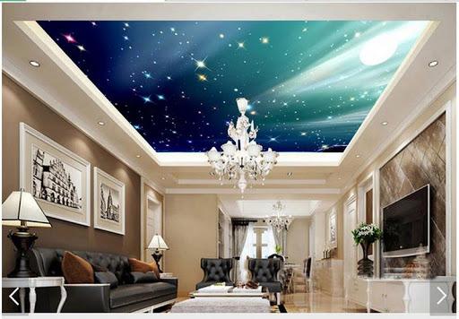 trần thạch cao 3d đẹp cho phòng khách